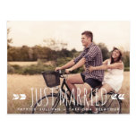 Aztec Typography Just Married Postcard