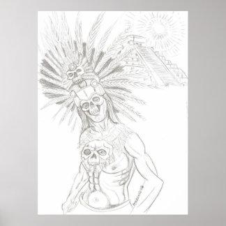 aztec warrior and chicchen itza poster