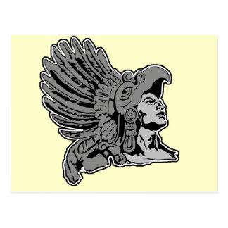 aztec warrior postcard