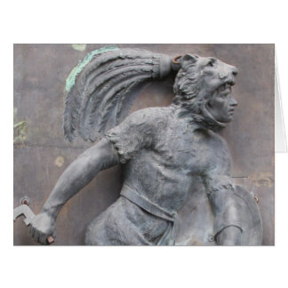 Aztec Warrior Stone carving Greeting Card