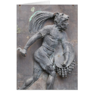 Aztec Warrior Stone carving Card