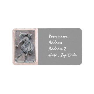 Aztec Warrior Stone carving Label