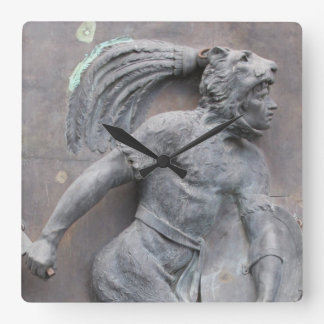 Aztec Warrior Stone carving Square Wall Clock