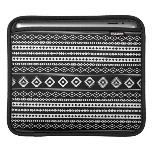 Aztec White on Black Mixed Motifs Pattern iPad Sleeve