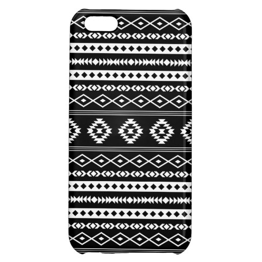 Aztec White on Black Mixed Pattern Case For iPhone 5C