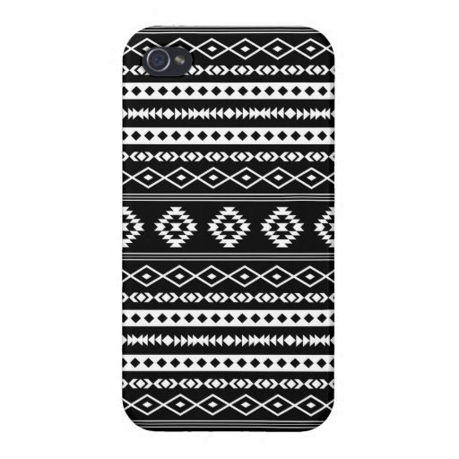 Aztec White on Black Mixed Pattern Case For iPhone 4