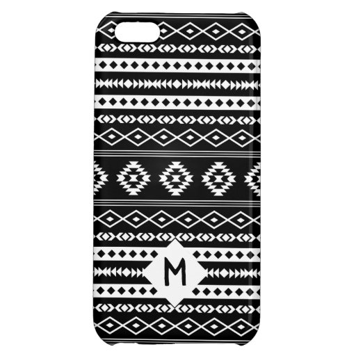 Aztec White on Blk Mixed Motif Pattern(Customized) Case For iPhone 5C