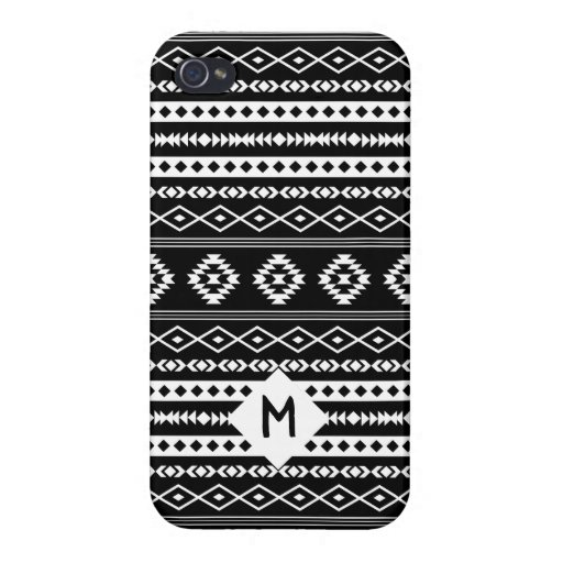 Aztec White on Blk Mixed Motif Pattern(Customized) Case For iPhone 4