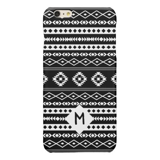 Aztec White on Blk Mixed Motif Pattern(Customized) Glossy iPhone 6 Plus Case