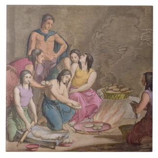 Aztec women making maize bread, Mexico, from 'Le C Ceramic Tile