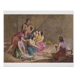 Aztec women making maize bread, Mexico, from 'Le C Poster