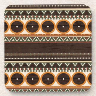 Aztec Wood Texture Beverage Coaster