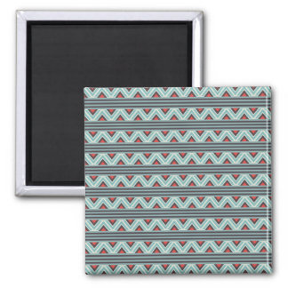 Aztec Zig Zag and Stripes Blue Red Pattern 2 Inch Square Magnet