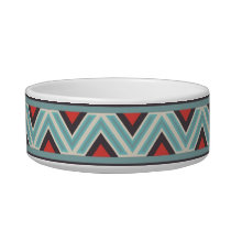 Aztec Zig Zag and Stripes Blue Red Pattern Bowl