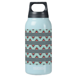 Aztec Zig Zag and Stripes Blue Red Pattern Insulated Water Bottle