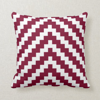 Aztec Zigzag in Cranberry Red and White Throw Pillow