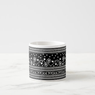 Aztec zipper tangle in  Black and White Espresso Cup