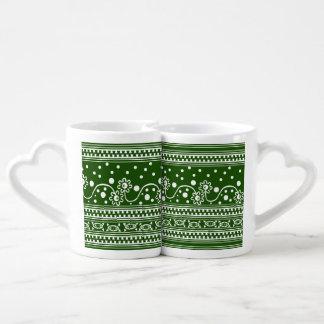 Aztec Zipper Tangle in Green Coffee Mug Set