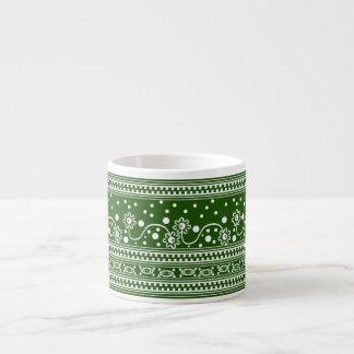 Aztec Zipper Tangle in Green Espresso Cup