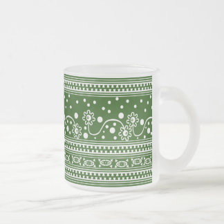 Aztec Zipper Tangle in Green Frosted Glass Coffee Mug