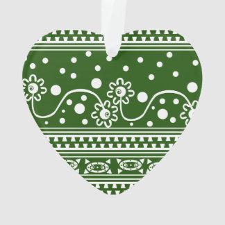 Aztec Zipper Tangle in Green Ornament