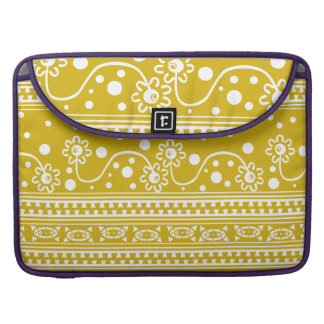Aztec Zipper Tangle in Mustardy Yellow Sleeve For MacBook Pro
