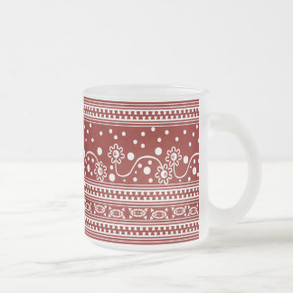 Aztec Zipper Tangle in Tomato Red Frosted Glass Coffee Mug