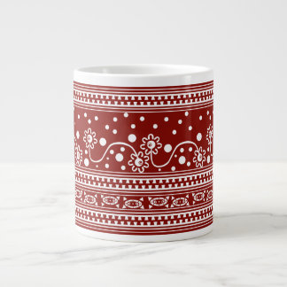Aztec Zipper Tangle in Tomato Red Large Coffee Mug