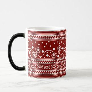 Aztec Zipper Tangle in Tomato Red Magic Mug