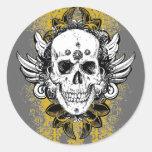 Azteca-Cráneo Etiqueta Redonda