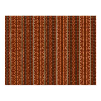 Azteca de moda de Chevron de Brown y del naranja Postales