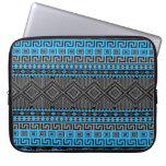 Azteca de neón de moda del negro del gris azul del funda computadora