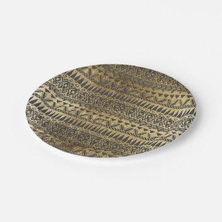 Azteca dibujado del falso oro ostentoso y de la platos de papel