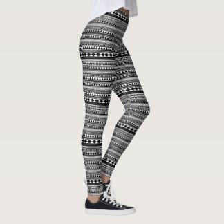 Azteca en blanco y negro leggings