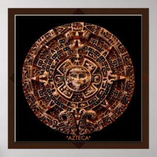 AZTECA Mayan - Aztec Sun Calender Art Print