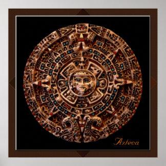 AZTECA Mayan Sun Calender Art Print