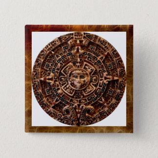 """AZTECA"" Mayan Sun-Calender Square Button"