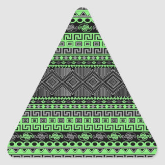 Azteca negro gris verde de neón de moda del verano pegatina triangular