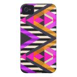Azteca rosado del estallido del zigzag iPhone 4 Case-Mate cobertura