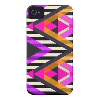 Azteca rosado del estallido del zigzag iPhone 4 cárcasa