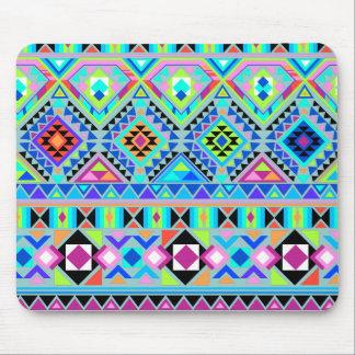 Azteca rosado del verde azul tribal tapetes de ratones