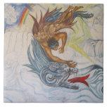 Azteca y dragón azulejo cuadrado grande
