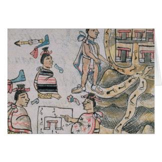 Aztecas que consultan y que siguen un mapa tarjeta de felicitación