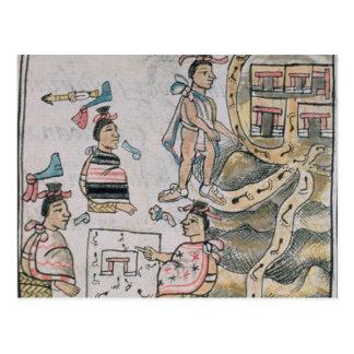 Aztecas que consultan y que siguen un mapa postales