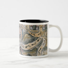 Aztecs consulting and following a map Two-Tone coffee mug