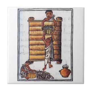 Aztecs Storing Maize Tile