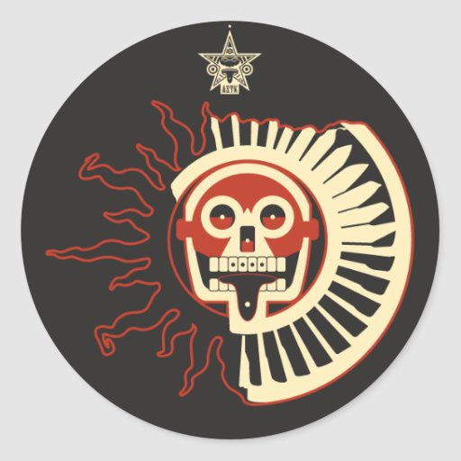 AZTK-Sol-negro-3 '' Pegatina Redonda