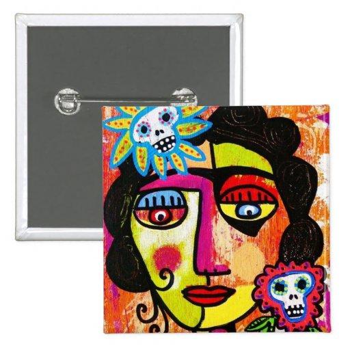 Azúcar Amethyst Sull Frida por SilberZweigArts Pin Cuadrada 5 Cm