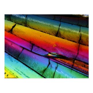 Azúcar debajo de un microscopio postales