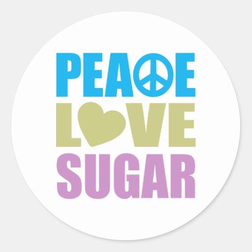 Azúcar del amor de la paz etiquetas redondas